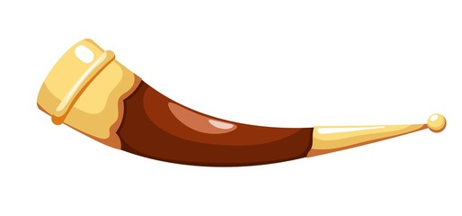 Color image of a traditional Caucasian cup made from a bull's horn in a cardboard style on a white background. Vector illustration of a wine cow horn