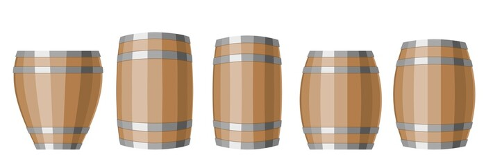 Set of differently shaped wooden barrels with a metal hoop. Vector illustration of containers for liquid products