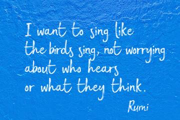 like birds sing Rumi Wall mural