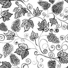 Black grapes seamless pattern watercolor