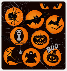 Halloween vector design collection . A set of traditional Halloween day symbols : spider, bat, owl, eyes, ghost, moon, cobweb, skull and cross bones