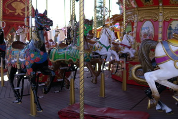 Kid attractions colorful carousel horse fun z