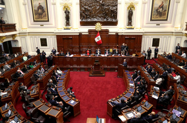 Peruvian Prime Minister Cesar Villanueva speaks to Congress as he asks for the approval of four anti-graft bills in Lima