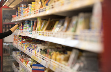 Blurred of product shelves in supermarket or grocery store