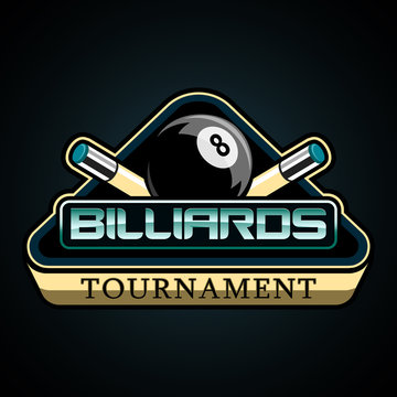 bright American Billiards vector logo on a dark background, featuring a black ball number eight, a triangle and two cue