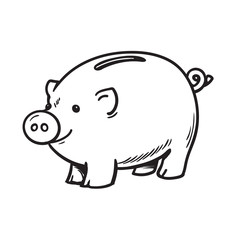 Black and white sketch of funny piggy bank. Vector illustration.