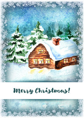 Winter  background,  Merry Christmas greeting card. Watercolor hand drawn vertical template