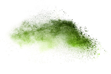 Green powder explosion on white background. Wall mural