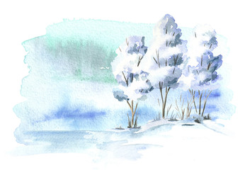 Winter background,  landscape with tree. Watercolor hand drawn illustration
