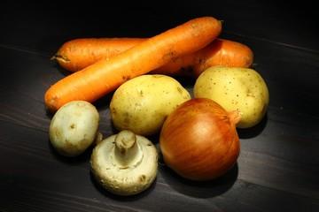 Vegetables on a dark background
