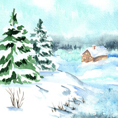 Winter card, landscape with fir tree and small house. Watercolor hand drawn illustration