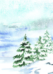 Winter vertical background, landscape with snowfall. Watercolor hand drawn illustration