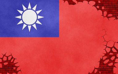 Illustration of a Taiwanese flag painted on the cracked wall