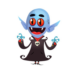 Happy Vampire Holding Up His Arms. Design for print, decoration or sticker