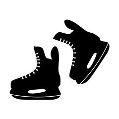 Ice skates icon, silhouette, logo on white background