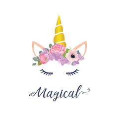 Cute unicorn vector graphic design. Cartoon unicorn head with flower crown illustration and inscription Magical