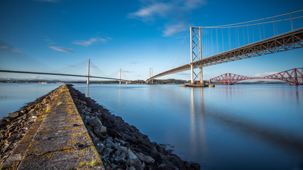 Foto auf Acrylglas Bridges The Bridges over the Forth in Scotland