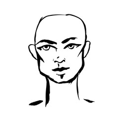 Brush grunge style simple portrait of bald-headed man. Ink handmade drawing. Modern vector illustration.