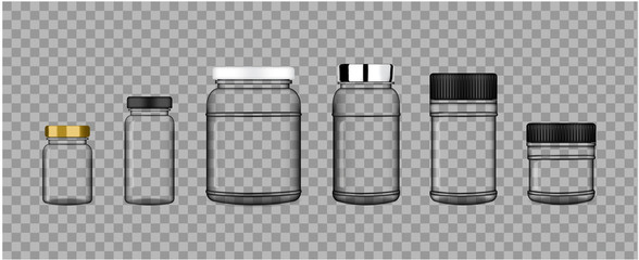 Mock up Realistic Transparent Plastic Packaging Product Jar For Protein or Medicine Bottle isolated on white Background.