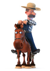3d illustration farmer on horseback/3d illustration cowboy in a hat with a curvy mustache