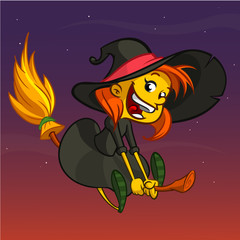 Cartoon witch flying on her broom. Vector clip art illustration