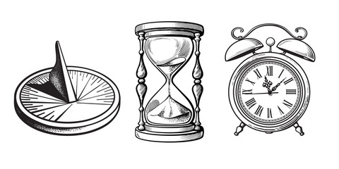 Set of different old clocks. Sundial, Hourglass, Alarm clock. Black and white hand drawn sketch vector.