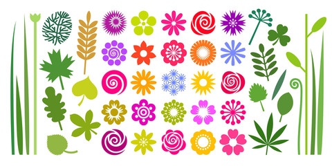 Set of colorful summer flowers, leaves and stems in imple cartoon flat style.