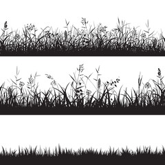 Set of grass seamless borders. Black silhouette of grass, spikes and herbs. Vector.