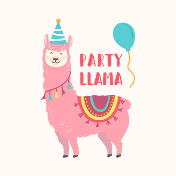 Happy birthday card with cute cartoon llama design