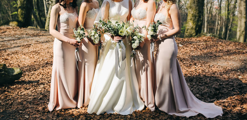 Bridesmaids in powder pink pastel dresses are standing near the bride and groom outdoors. Beautiful girls on wedding day. Elegant friends photo details with bouquets. Autumn fall weather with leaves.