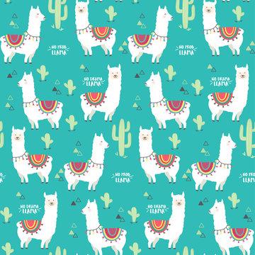 Cute white llama, alpaca and cactus seamless pattern design. Trendy cartoon llama vector background