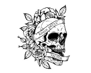 Skull with  roses tattoo by hand drawing.Tattoo art highly detailed in japanese line art style.Black and white line art pattern for paint