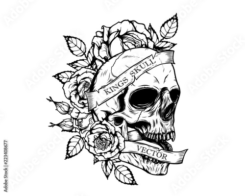 Skull With Roses Tattoo By Hand Drawingtattoo Art Highly Detailed