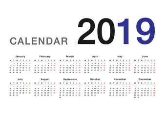 Calendar year 2019 horizontal vector design template, simple and clean design. Calendar for 2019 on White Background for organization and business. Week Starts Monday. Simple Vector Template. EPS10.