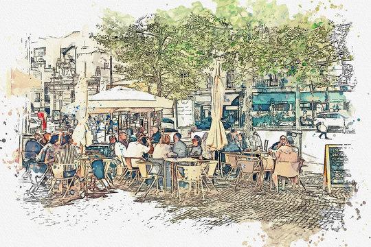 illustration of a street cafe in Lisbon. People rest together and eat.