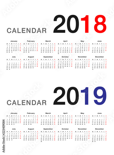 year 2018 and year 2019 calendar vector design template simple and