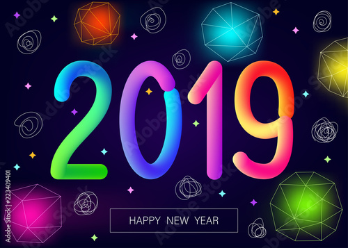 2019 new year greeting card with colorful neon flash