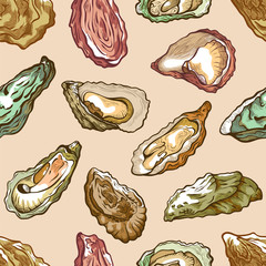 Oysters seamless pattern, sea delicatessen product set