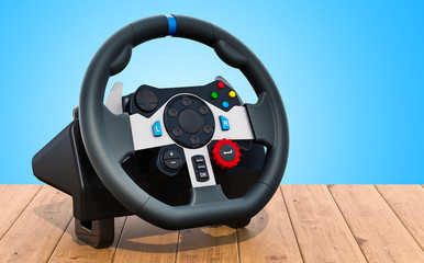 Gaming steering wheel on the wooden table. 3D rendering