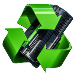 Green recycle symbol with toner cartridge, 3D rendering