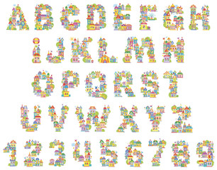 Font Toy Town. English alphabet and numerals made of colorful houses