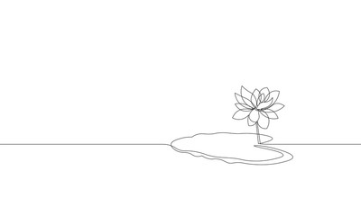 Single continuous line art lotus flower leaf silhouette. Nature water plant ecology life beauty concept. Floral decoration element design one sketch outline drawing vector illustration