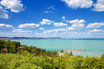 Lake Balaton with a nice cloudscape from Tihany village in Hungary