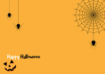 Happy Halloween spider web and spiders for greeting card - Vector illustration