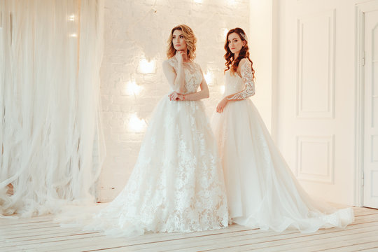 beautiful bride in a chic wedding dress