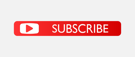 Subscribe button. Vector subscribe icon on red color. Layers grouped for easy editing illustration. For your design.