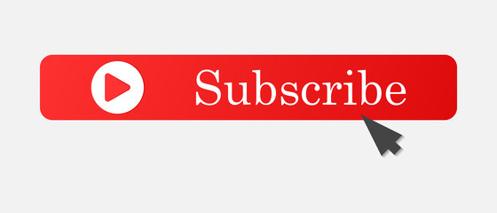 Subscribe button with arrow. Vector subscribe icon on red color. Layers grouped for easy editing illustration. For your design.