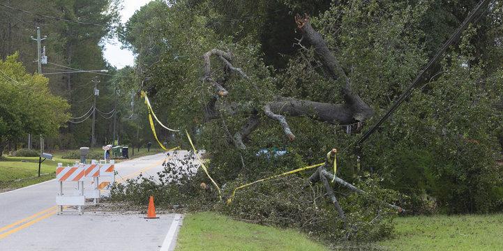 Hurricane Florence damage to power lines in Wagram North Carolina