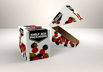 Cardboard Shelf Box Mockup