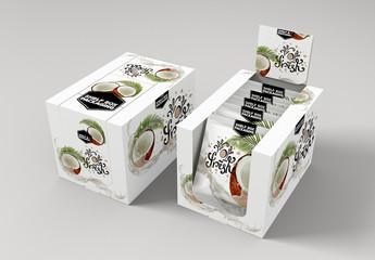 Cardboard Shelf Box Mockup with Product